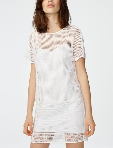 ARMANI EXCHANGE Sheer Lace Tee Dress Woman front