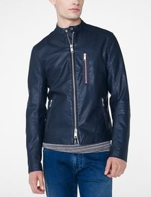 ARMANI EXCHANGE Faux-Leather Tab Moto Moto Jacket Man f