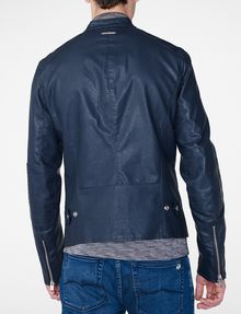 ARMANI EXCHANGE Faux-Leather Tab Moto Moto Jacket Man r