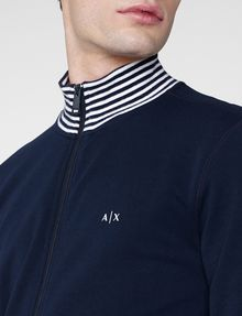 ARMANI EXCHANGE Stripe Mockneck Zip-Up Zip-up Man e