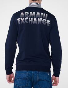 ARMANI EXCHANGE Stripe Mockneck Zip-Up Zip-up Man r