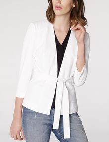 ARMANI EXCHANGE Seersucker Tie Blazer 3/4 sleeve blazers Woman f