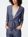 ARMANI EXCHANGE Chambray Tie-Waist Blazer Blazer Woman f