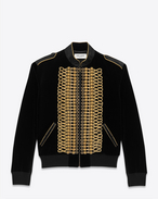 SAINT LAURENT Giacche Casual U Giubbotto Teddy Officier nero in velour di cotone  f