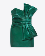 SAINT LAURENT Kleider D bow mini dress in emerald green satin cotton and acrylic polyamide f