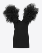 SAINT LAURENT Kleider D layered shoulder mini dress in black wool sablé f
