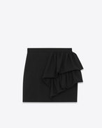 SAINT LAURENT Short Skirts D Asymmetrical Ruffled Fitted Skirt in Black Wool Sablé f