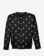 SAINT LAURENT Lederjacke D eyelet teddy jacket in black leather and silver-toned metal f