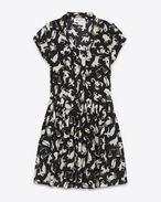 SAINT LAURENT Dresses D BABYDOLL Lavaliere Dress in Black and Off White Horoscope Printed Silk Crêpe f
