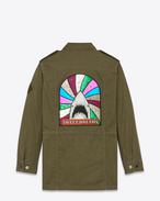 "SAINT LAURENT Casual Jacken D ""sweet dreams"" shark military parka in khaki cotton and linen f"
