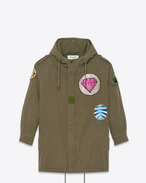 SAINT LAURENT Casual Jackets D Patch Military Parka in Military Khaki Cotton Twill f