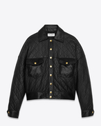 SAINT LAURENT Lederjacke D quilted leather jacket in black leather and faux python skin f