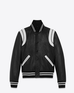 SAINT LAURENT Leather jacket D Classic Teddy Jacket in Black and White Leather f