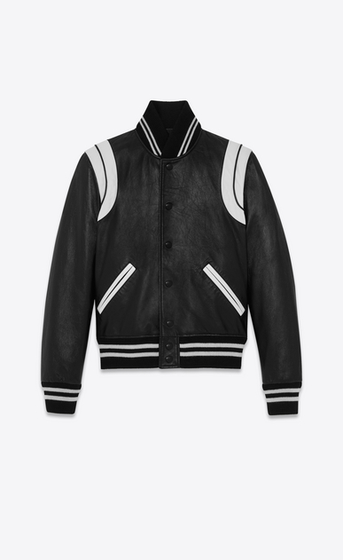 SAINT LAURENT Leather jacket D Classic Teddy Jacket in Black and White Leather a_V4