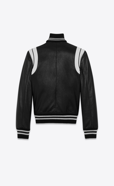SAINT LAURENT Leather jacket D Classic Teddy Jacket in Black and White Leather b_V4