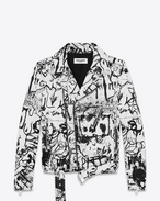 SAINT LAURENT Leather jacket D Special Project Classic Motorcycle Jacket in White and Black Washed Leather f