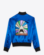 SAINT LAURENT Blousons D blouson teddy requin « sweet dreams » en viscose bleu électrique f