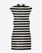 SAINT LAURENT Dresses D PUNK Sleeveless Dress in Black and Ivory Viscose and Polyamide Sequins f