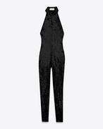 SAINT LAURENT LONG DRESSES D halter jumpsuit in black polyamide and elastane sequins f