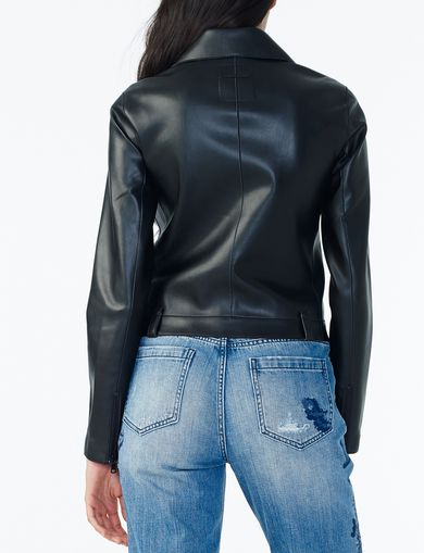 FAUX-LEATHER COLLARED MOTO