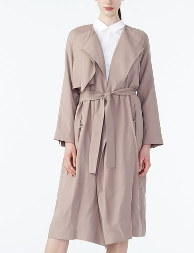 ARMANI EXCHANGE DRAPED-FRONT SOFT TRENCH Woman front