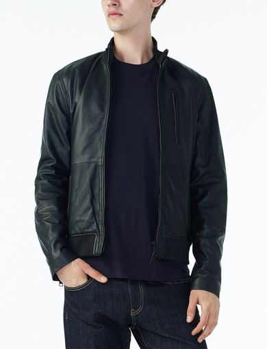 ARMANI EXCHANGE RIBBED COLLAR LEATHER BOMBER Man front