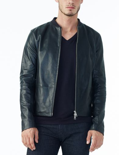 ARMANI EXCHANGE CLEAN-FRONT LEATHER JACKET Man front