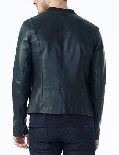 ARMANI EXCHANGE CLEAN-FRONT LEATHER JACKET Man retro
