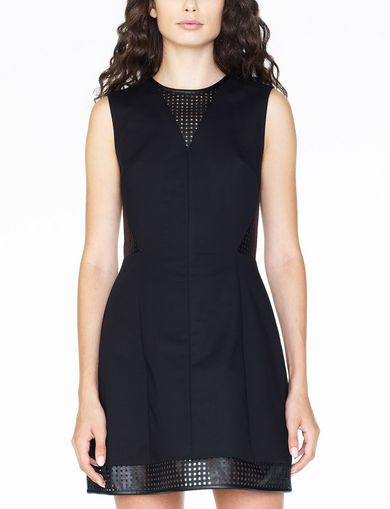 ARMANI EXCHANGE FAUX-LEATHER FIT-AND-FLARE Woman front