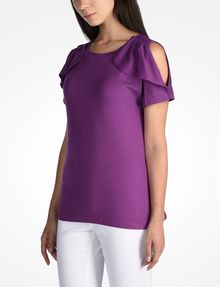 ARMANI EXCHANGE CUTOUT RUFFLE TOP S/S Knit Top D d