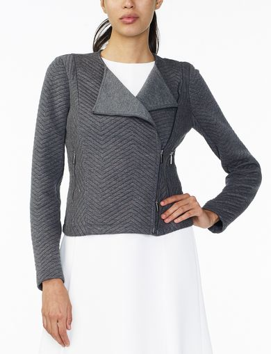 ARMANI EXCHANGE CHEVRON QUILTED KNIT JACKET Woman front