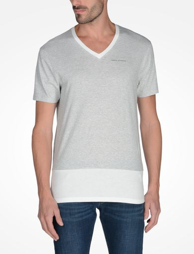 STRIPED V-NECK T-SHIRT WITH BLOCK HEM