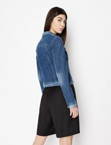 ARMANI EXCHANGE WASHED INDIGO DENIM TRUCKER JACKET Denim Jacket [*** pickupInStoreShipping_info ***] e