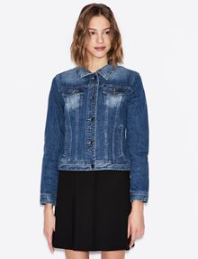 ARMANI EXCHANGE WASHED INDIGO DENIM TRUCKER JACKET Jacket Woman f
