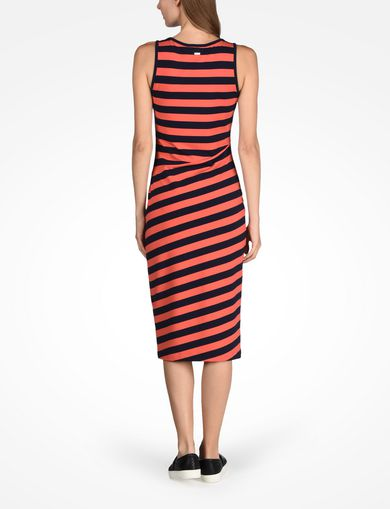 STRIPED BIAS CUT JERSEY DRESS