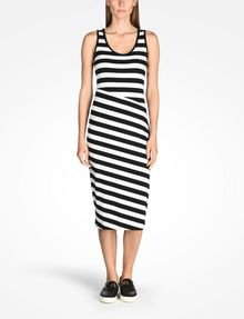 ARMANI EXCHANGE STRIPED BIAS CUT JERSEY DRESS Midi dress D f