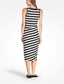 ARMANI EXCHANGE STRIPED BIAS CUT JERSEY DRESS Midi dress D r