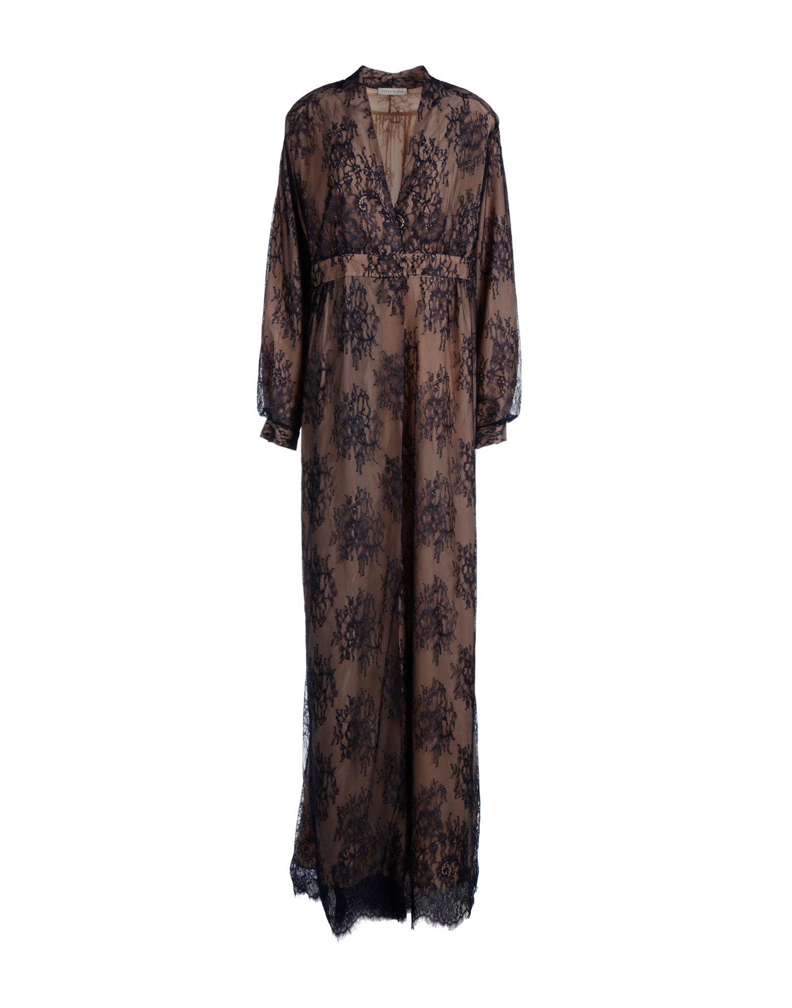 SUPER BLOND Damen Langes Kleid Farbe Dunkelblau Größe 5 - broschei