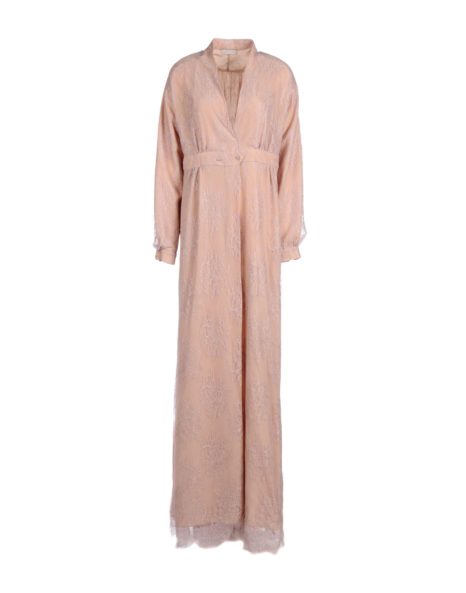 SUPER BLOND Damen Langes Kleid Farbe Nude Größe 5