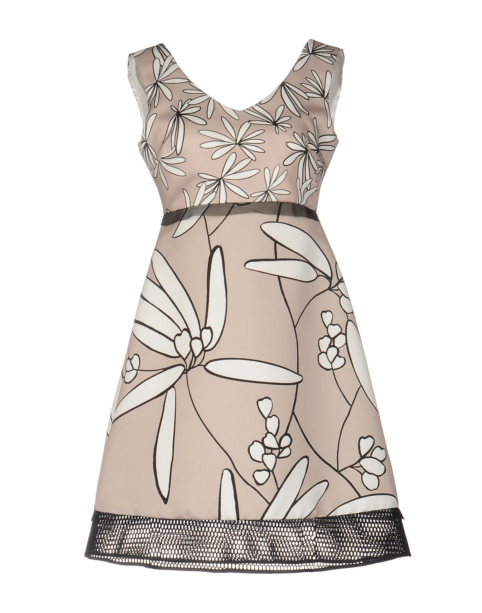 1-ONE Damen Kurzes Kleid Farbe Beige Größe 6 - broschei