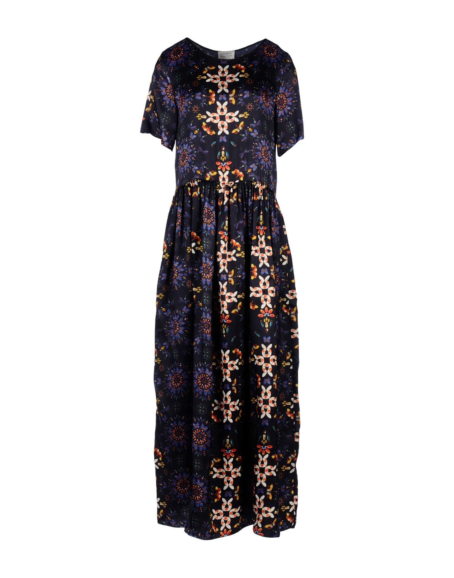 FORTE-FORTE Damen Langes Kleid Farbe Dunkelblau Größe 3 - broschei