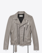 SAINT LAURENT Leather jacket D Signature Motorcycle Jacket in Grey Slouchy Leather f