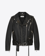 SAINT LAURENT Lederjacke D Signature Motorcycle Jacket in Black and Beige Distressed Leather f