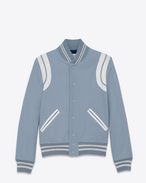 SAINT LAURENT Casual Jackets D TEDDY Jacket in Blue-Grey Wool and Polyamide and White Leather f