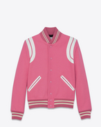 SAINT LAURENT Casual Jackets D TEDDY Jacket in Rose Virgin Wool and Polyamide and White Leather f
