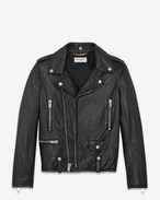 Classic Motorcycle Jacket in Black Slouchy Leather
