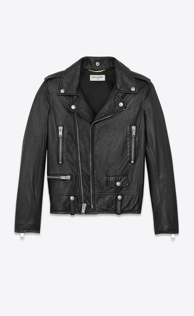 SAINT LAURENT Leather jacket Woman Classic Motorcycle Jacket in Black Slouchy Leather a_V4