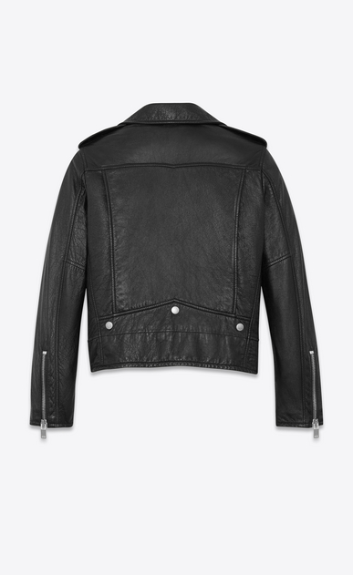 SAINT LAURENT Leather jacket D Classic Motorcycle Jacket in Black Slouchy Leather b_V4