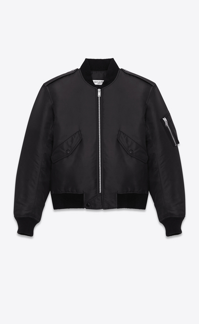 SAINT LAURENT Casual Jackets D classic bomber jacket in black nylon a_V4