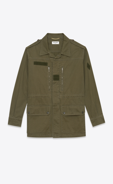 SAINT LAURENT Giacche Casual D parka military color kaki in cotone e gabardine di lino a_V4